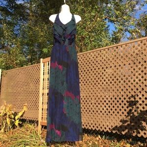 Aqua Silk Ruffled Maxi Cocktail Dress S